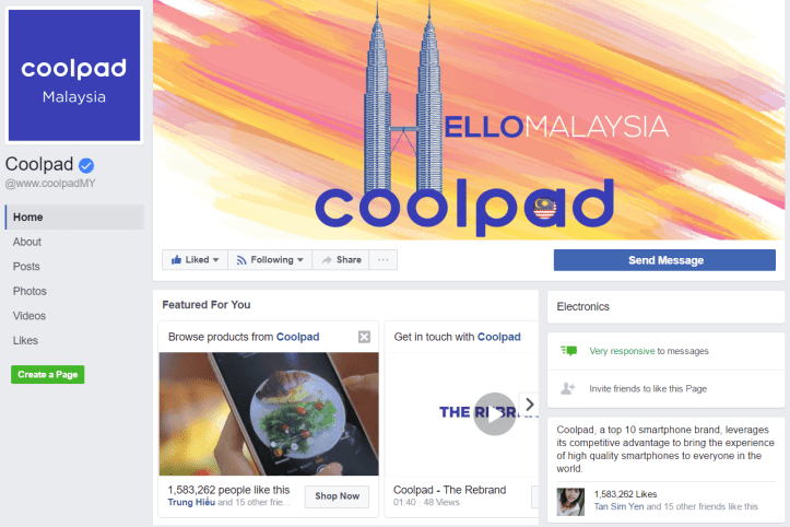 Coolpad brand announcement on FB