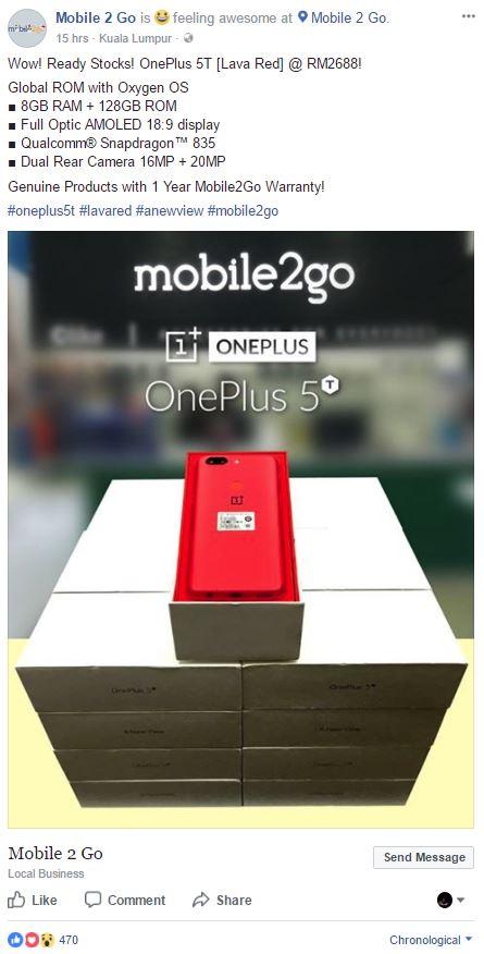 oneplus 5t mobile2go