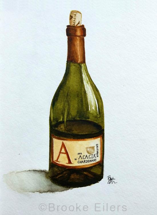 Fine Wine, Watercolor by Brooke Eilers