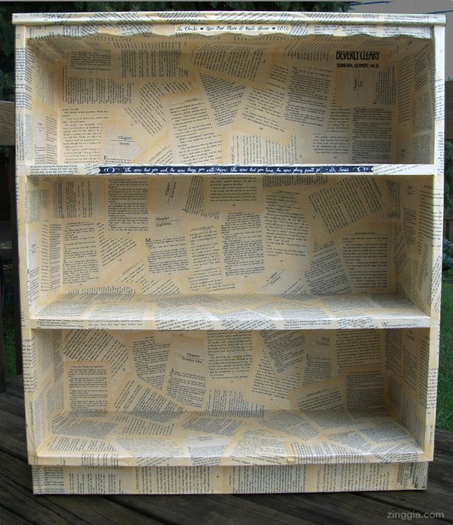Decoupage bookshelf