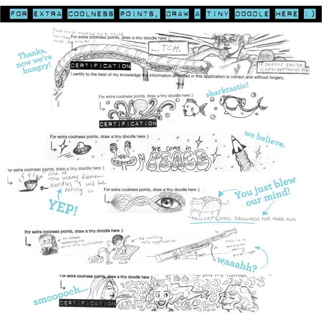 Zinggia art scholarship doodles