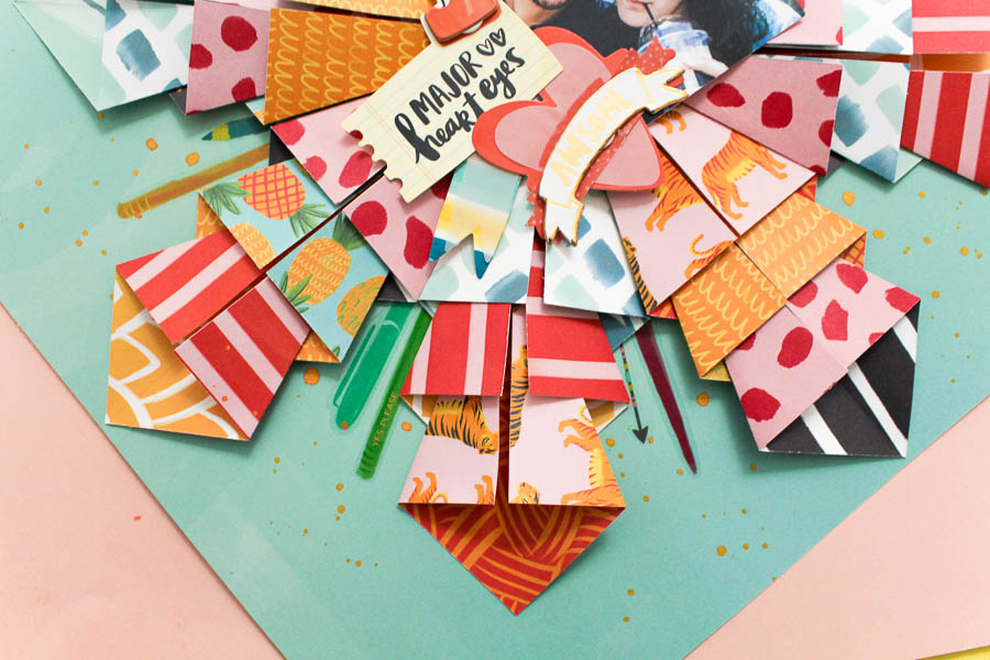 Colorful Origami Scrapbook Layout