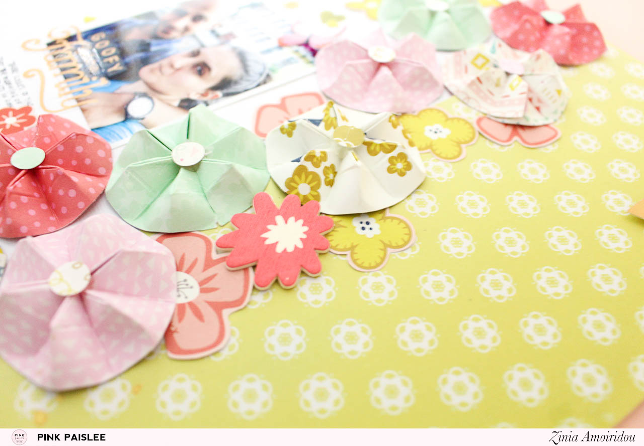 Scrapbooking Warm Colors Origami Flowers Zinia Redo