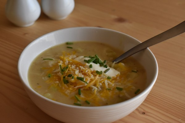 Baked potato soup in a bowl