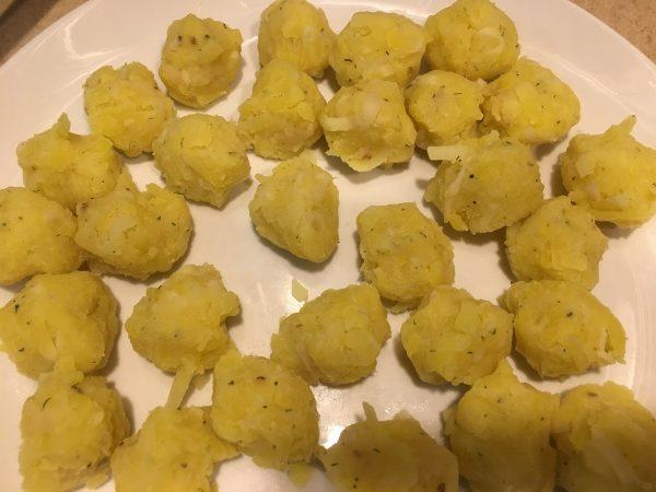 Form potatoes into tots.