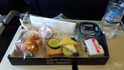 It's breakfast time on flight to Portugal