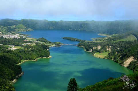 The biggest extinct volcano crater in the Azores with 12 km perimeter. Sete Cidades, Sao Miguel Azores