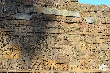 Relief at the Bayon temple in Angkor, depicting the Khmer and Cham armies going to war.