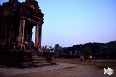 Waiting for the sunrize at Angkor Wat northern library