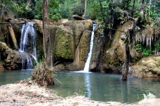 The Tat Sae Waterfalls are located in Luang Prabang Province, Laos.