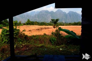 Van Vieng featuring the karst hill landscape surrounding the town