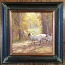 """Original """"Out to Greener Pastures"""" by Linda Curley Christensen: 12×12 framed ORIGINAL $1200"""