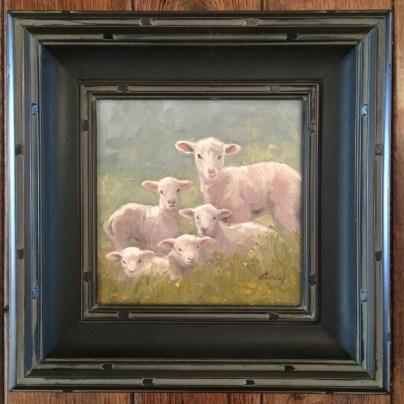 "Original ""Five Lamb Friends"" by Linda Curley Christensen: 8×8 framed ORIGINAL $775"