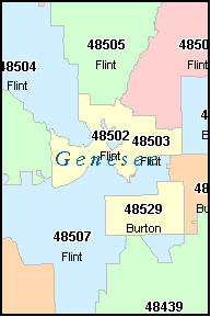 Genesee County Michigan Digital Zip Code Map