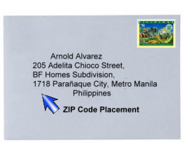 Sample Of Envelope With A Philippine Postal Stamp And Address Indicating Area Zip Code