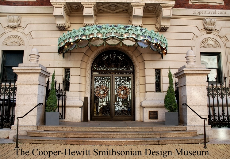Entrance to the Cooper-Hewitt Smithsonian Design Museum in New York City during the Christmas season 2014