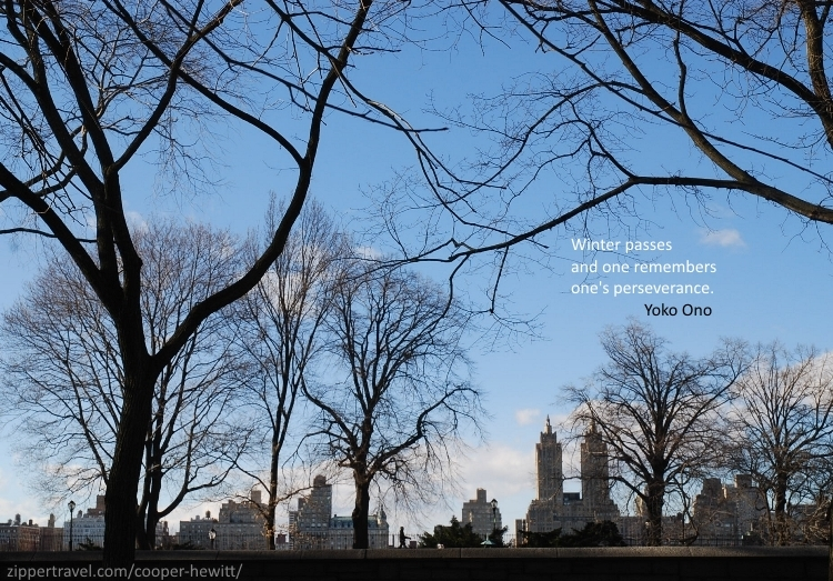 Winter view of Central Park from the Cooper-Hewitt in New York City