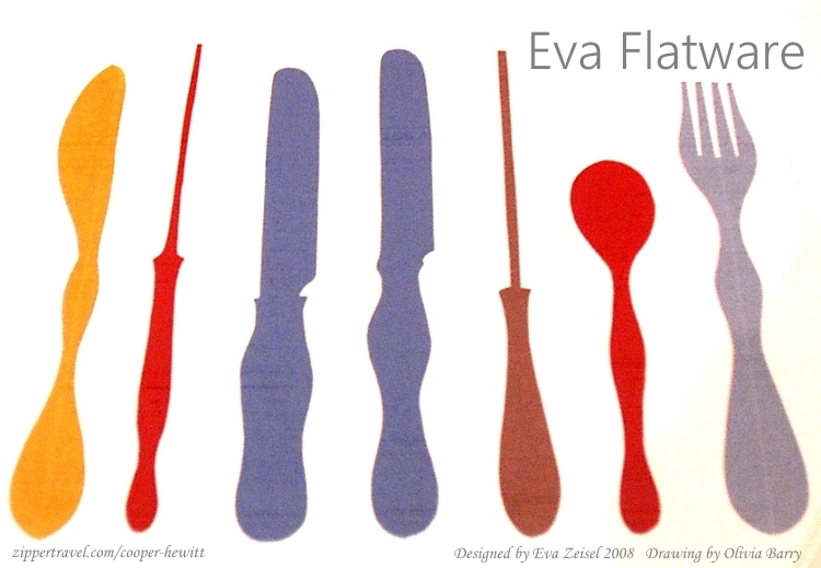 Drawing by Olivia Barry of Eva Zeisel flatware at the Cooper-Hewitt Design Museum in New York City