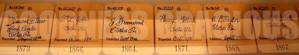 19th century patent tags for clothespins at the Cooper-Hewitt Smithsonian Design Museum in New York City