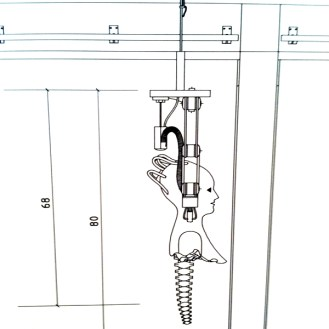 Drawing of suspension and movement system for figure comprised of only head and shoulders at the Cooper-Hewitt Design Museum in NYC