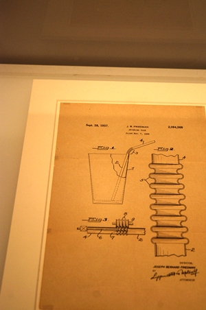 Patent illustration for the flexible straw at the Cooper-Hewitt Smithsonian Design Museum
