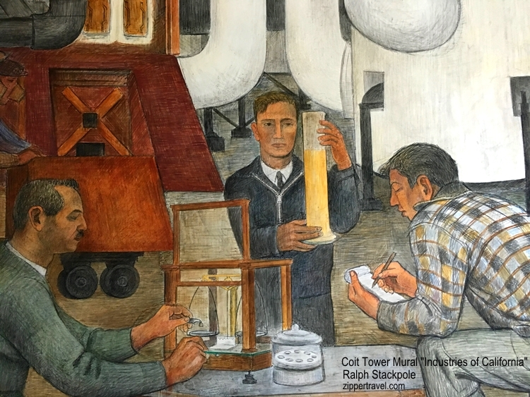 Scientists measuring liquids Industries of California mural Ralph Stackpole Coit Tower North Beach California