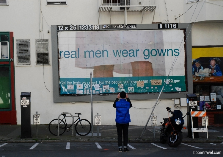 Steven Saden photographing real men wear gowns billboard north beach san francisco california