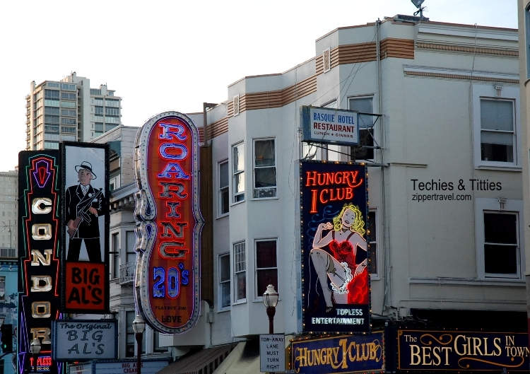 strip clubs neon signs broadway north beach san francisco california
