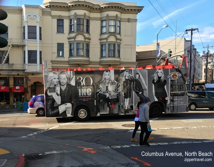 macy's advertisement on bus north beach san francisco california
