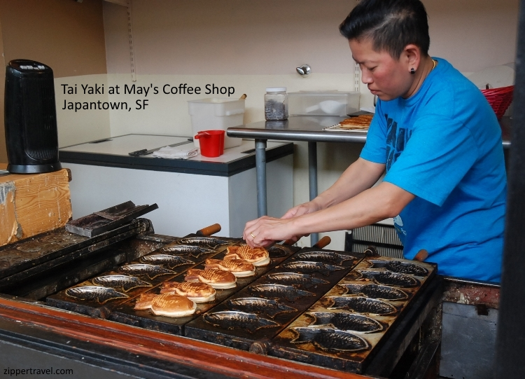 Woman making fish pancake tai yake may's coffee shop san francisco