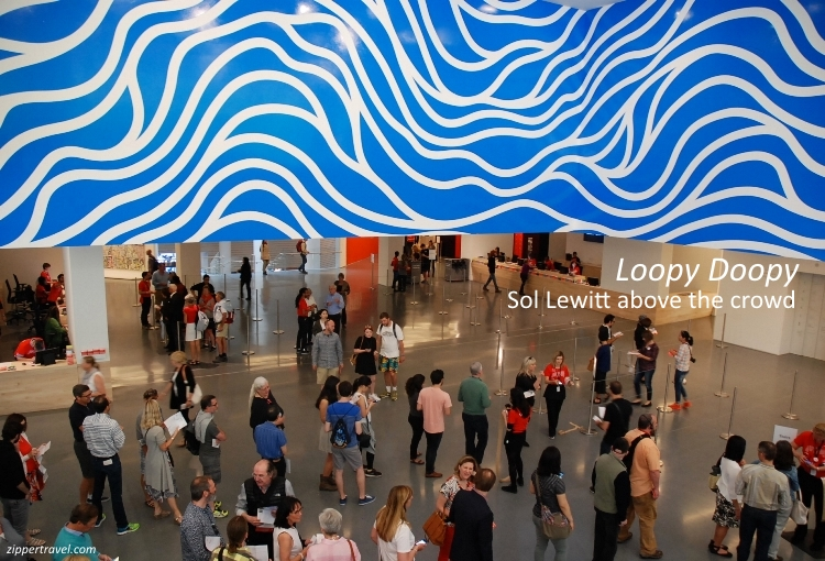 Sol Lewitt Loopy Doopy over crowds SFMOMA