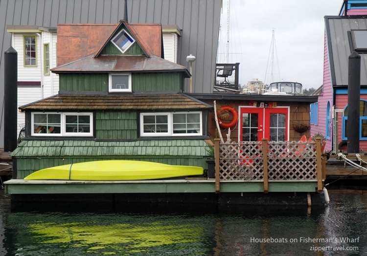 houseboat-yellow-kayak-fishermans-wharf-victoria-bc
