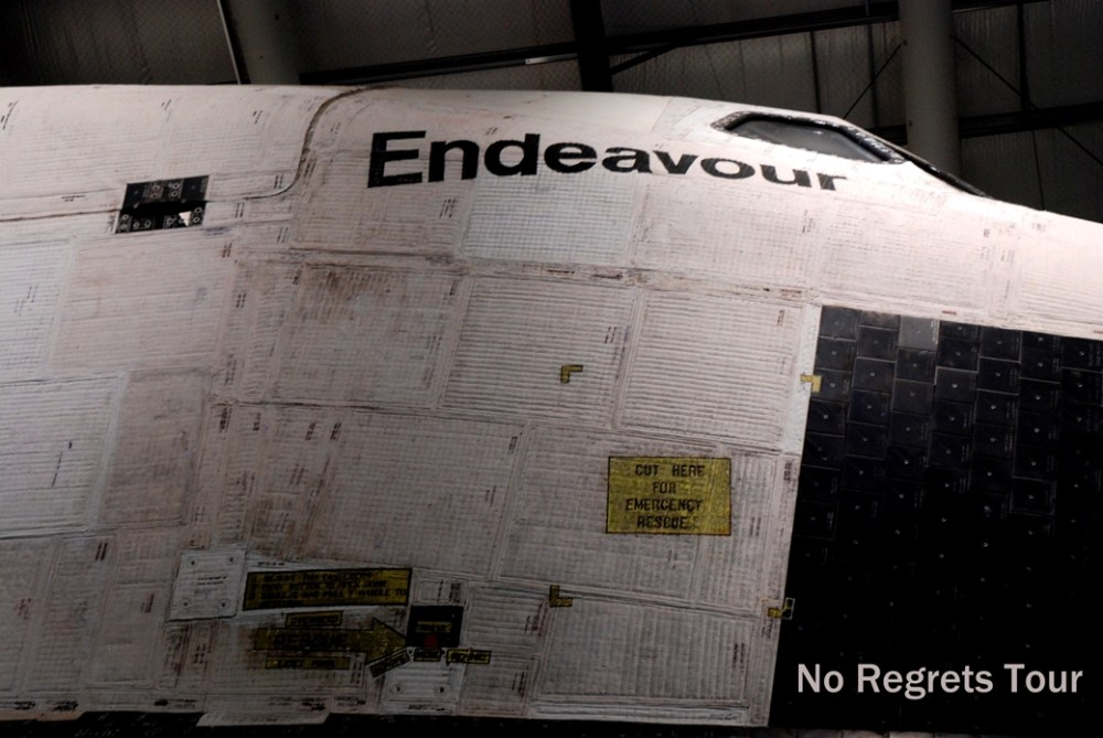 detail of Endeavor Space Shuttle nose California Science Center
