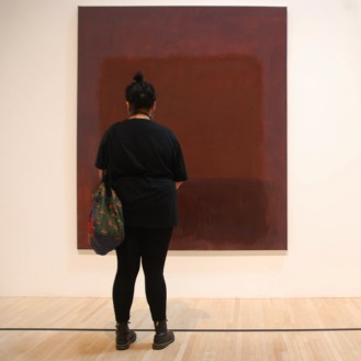 Woman facing Rothko MOCA Los Angeles