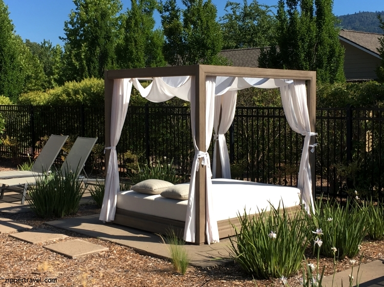 Outdoor bed set up Solage Pool Party Calistoga CA