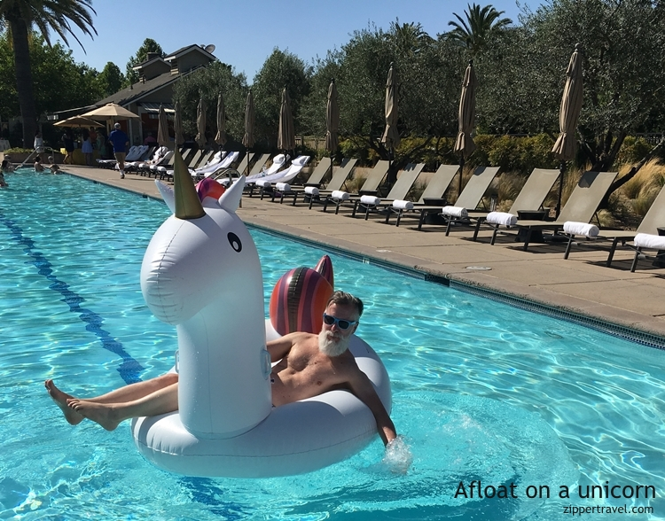 Steve unicorn Solage Pool Party Calistoga CA