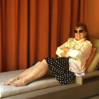 Elizabeth lounging Kenwood Inn Spa Cabana
