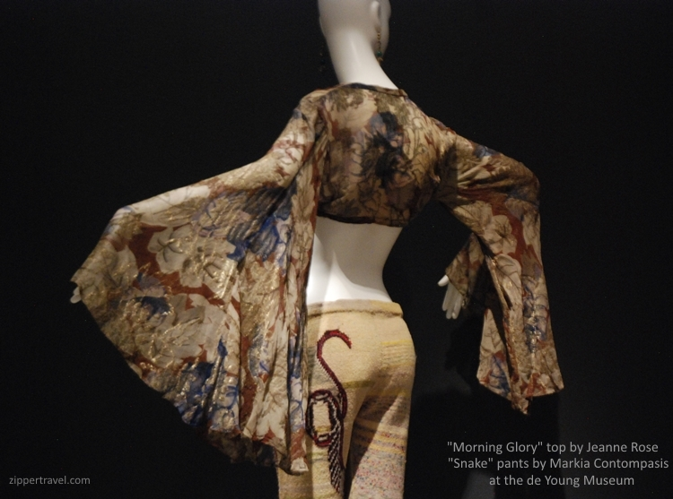 Jeanne Rose Morning Glory top Marika Contompasis Snake pants de Young Museum summer of love revisited