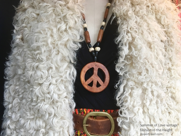 vintage shearling cape wooden peace sign Haight Ashbury store window summer of love revisited