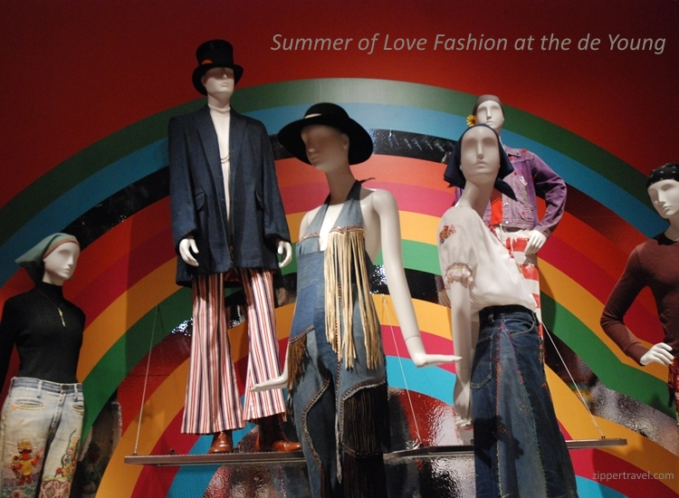 Mannequins hippie clothing deYoung Museum Summer of Love revisited