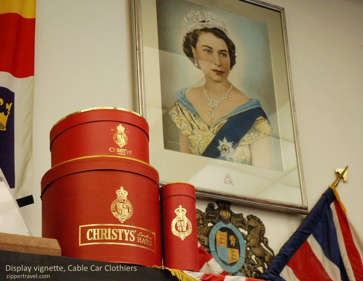 Queen Elizabeth portrait Christy's hat boxes Cable Car Clothiers hats San Francisco