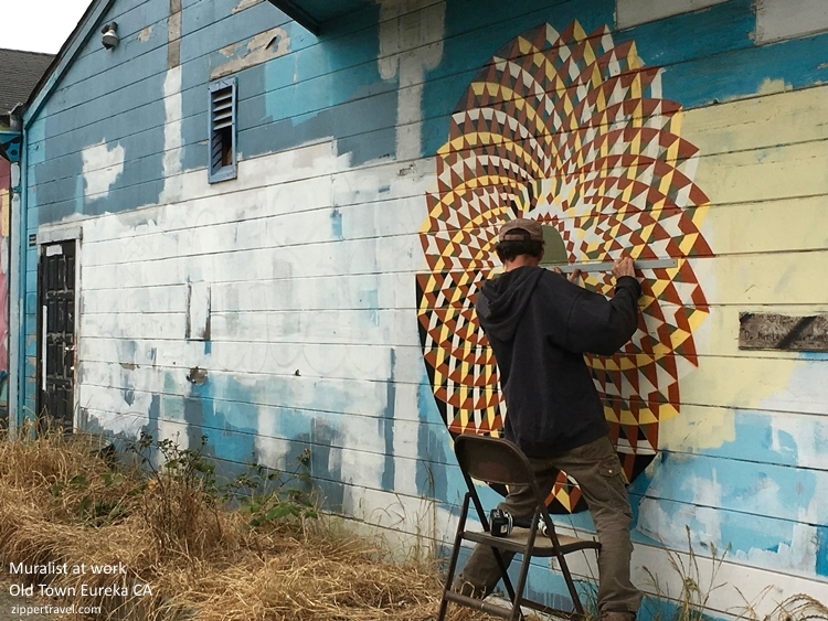 Mural artist working Eureka California