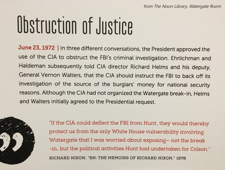 Obstruction of Justice Watergate room Nixon Library