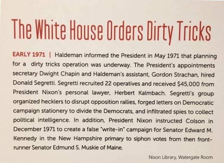 dirty tricks Watergate room Nixon Library