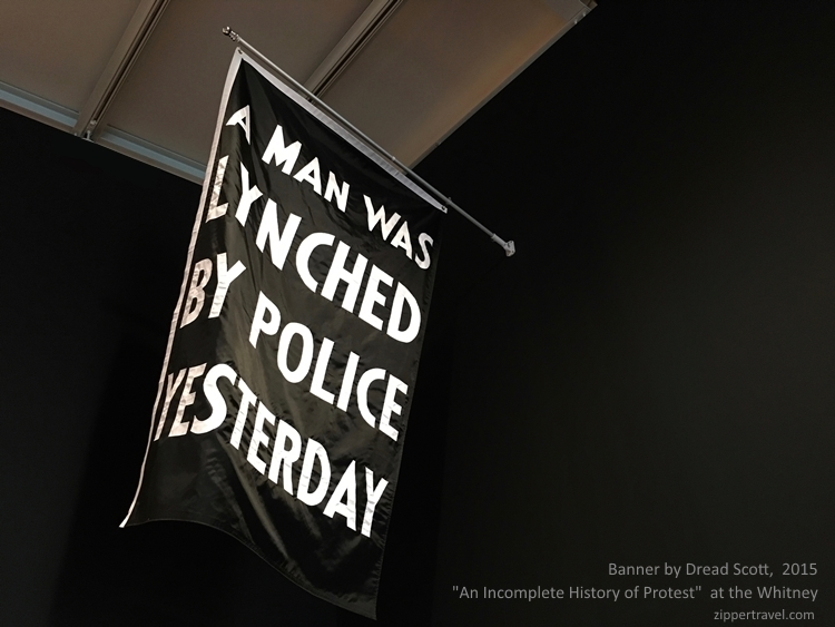 Dread Scott A Man was lynched by police yesterday banner Whitney Museum