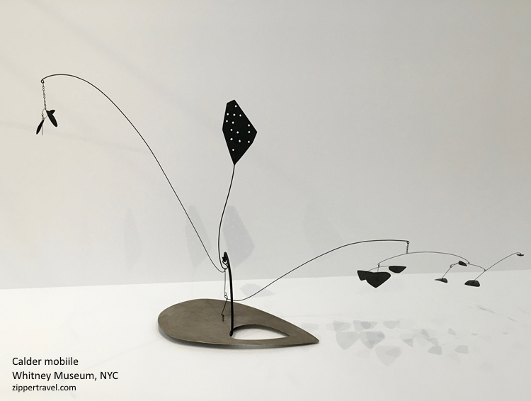 Calder mobile black grey base Whitney Museum NYC