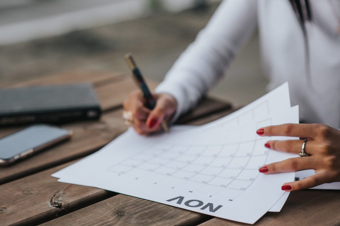 Writing on calendar