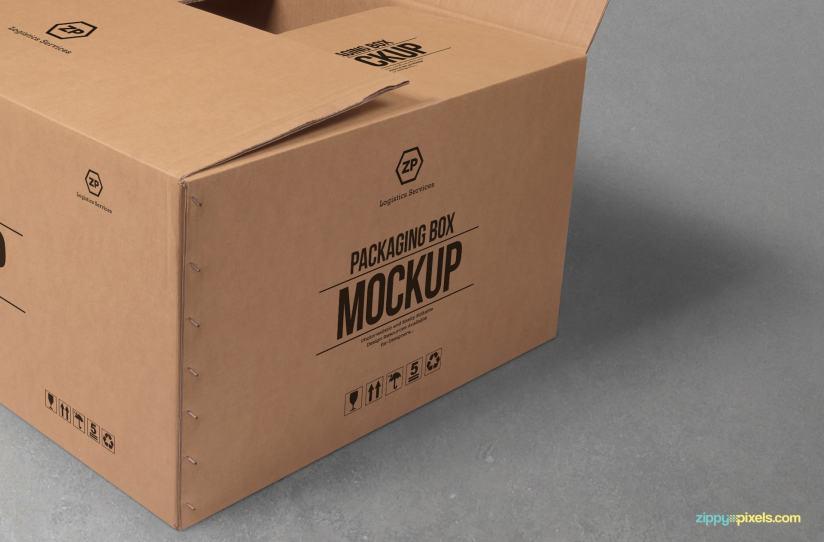 Download Free Cardboard Box Mockup | ZippyPixels