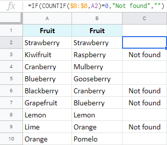 Count values to check if anything is missing.  - count missing values - Google Sheet Power Tip : Compare data in two Google sheets or columns for matches and differences