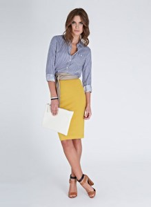 Pencil skirt with denim shirt